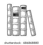 pile of old books standing... | Shutterstock .eps vector #686868880