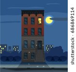 illustration of a night city... | Shutterstock .eps vector #686869114