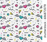 romantic seamless pattern with... | Shutterstock .eps vector #686872078