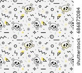 seamless pattern with skulls... | Shutterstock .eps vector #686872084