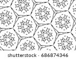 ornament with elements of black ... | Shutterstock . vector #686874346