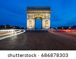 paris street at night with the... | Shutterstock . vector #686878303