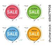 set of flat circle speech... | Shutterstock .eps vector #686879908