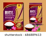 golden and purple rice package... | Shutterstock .eps vector #686889613