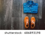men's casual outfit with denim... | Shutterstock . vector #686893198