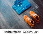 men's casual outfit with denim... | Shutterstock . vector #686893204