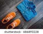 men's casual outfit with denim... | Shutterstock . vector #686893228