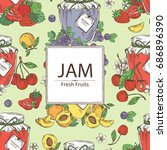 background with jar of jam with ... | Shutterstock .eps vector #686896390
