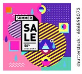 summer sale memphis style web... | Shutterstock .eps vector #686898073