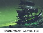 Night Scene Of Ghost Pirate...