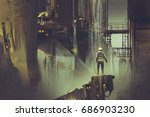 scene of the engineer standing on a platform looking at futuristic dam, digital art style, illustration painting