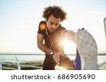 sporty afro american boy in... | Shutterstock . vector #686905690