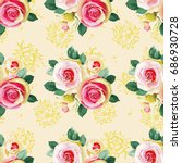 seamless floral pattern with... | Shutterstock .eps vector #686930728