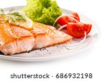 grilled salmon  | Shutterstock . vector #686932198
