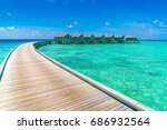 beautiful water villas in... | Shutterstock . vector #686932564