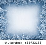 frost crystal border on ice  ...   Shutterstock . vector #686933188