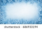 Frost Crystal Border On Ice  ...