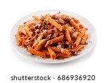 pasta with tomato sauce  | Shutterstock . vector #686936920
