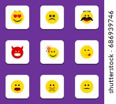 flat icon expression set of...   Shutterstock .eps vector #686939746