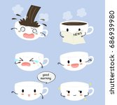 cute coffee cup emojis vector... | Shutterstock .eps vector #686939980