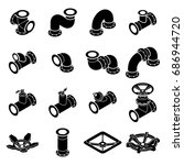 pipeline constructor icons set. ... | Shutterstock .eps vector #686944720
