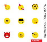 flat icon expression set of... | Shutterstock .eps vector #686945476