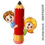 vector illustration of cartoon... | Shutterstock .eps vector #686946049