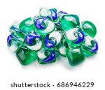 pile of washing gel capsule... | Shutterstock . vector #686946229