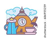 tea set made of british objects   Shutterstock .eps vector #686955259
