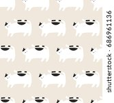 seamless pattern  cat art ... | Shutterstock .eps vector #686961136