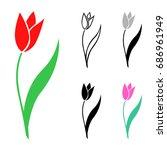 vector isolated illustrations... | Shutterstock .eps vector #686961949