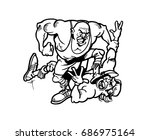 hand drawn sketch of boxer in... | Shutterstock .eps vector #686975164