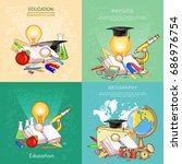 back to school set. biology ... | Shutterstock .eps vector #686976754