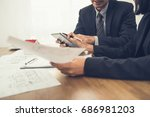 real estate agent with client... | Shutterstock . vector #686981203