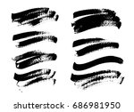 set of black paint  ink brush... | Shutterstock .eps vector #686981950