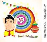 cute bal ganesha character... | Shutterstock .eps vector #686983369