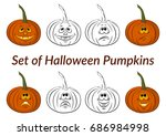 holiday halloween symbols ... | Shutterstock . vector #686984998