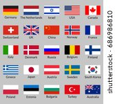 flag icon set. national flags... | Shutterstock .eps vector #686986810