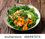 chickpea  pumpkin and avocado... | Shutterstock . vector #686987074