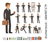vector set of businessman in... | Shutterstock .eps vector #686987179