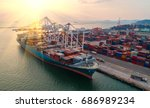 container container ship in... | Shutterstock . vector #686989234