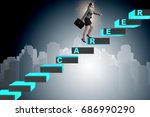 businesswoman climbing career... | Shutterstock . vector #686990290