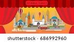 travel infographic. istanbul ... | Shutterstock .eps vector #686992960