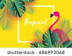 trendy summer tropical palm... | Shutterstock .eps vector #686993068