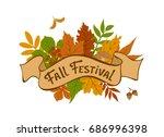 fall festival vintage badge...   Shutterstock .eps vector #686996398