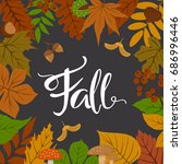 autumn fall leaves frame border ... | Shutterstock .eps vector #686996446