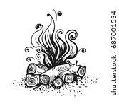 campfire  fire over wood logs.... | Shutterstock .eps vector #687001534
