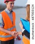 handhaking after successful...   Shutterstock . vector #687003124