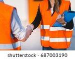 handhaking after successful...   Shutterstock . vector #687003190