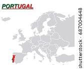 europe map portugal vector | Shutterstock .eps vector #687004648